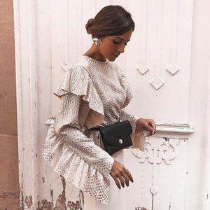 Zara Metallic Ruffled Long Sleeve Top Silver Pink